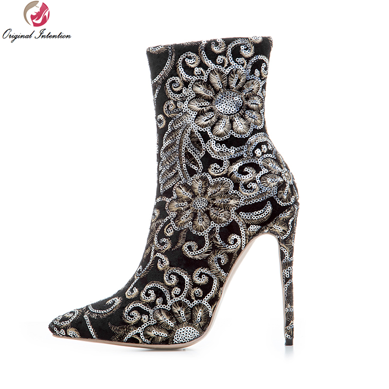 Original Intention Sexy Women Ankle Boots Fashion Bling Pointed Toe Thin Heels Boots Black Shoes Woman Plus US Size 3-10.5 customizable fashion women knee high boots sexy pointed toe thin heels leopard boots shoes woman plus size 4 15