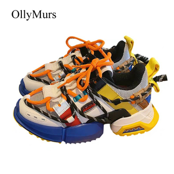 Shoes Women Platform Sneakers zapatos de mujer Autumn Fashion Brand chaussures femme Real Leather Lady Chunky footware Colorful