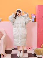 Princess sweet lolita parkas Fur raccoon hair collar BF wind relaxed warm long bread Satin 90 down Green parkas women VC258