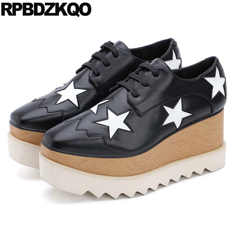 Thick Sole Metallic Platform Muffin Elevator British Style Creepers Shoes Genuine Leather Women Casual Star Square Toe Lace Up