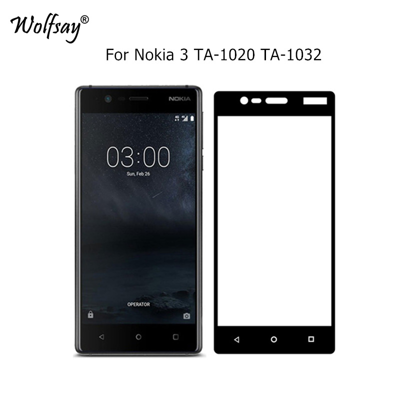 Wolfsay 2.5D Full Cover Tempered Glass sFor <font><b>Nokia</b></font> 3 Screen Protector 9H Film For <font><b>Nokia</b></font> 3 Glass For <font><b>Nokia</b></font> 3 2017 TA-1020 <font><b>TA1032</b></font> image