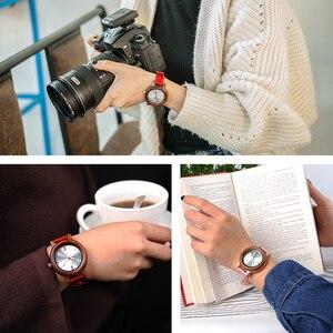 Image 4 - BOBO BIRD Brand Women Wood Watch 37mm Wooden PU Strap Wristwatches Female Timepieces Lady Quartz Watch relogio feminino