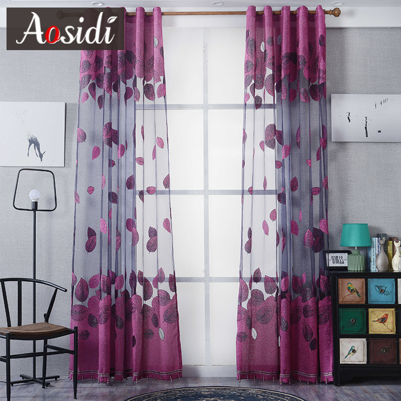 Modern Leaves Burnout Tulle Curtains For Living Room Window Luxury Purple Organza For The Bedroom Treatment Voile Sheer Curtains