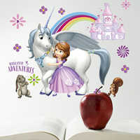 Princess Elsa Rainbow castle Wildebeest Wall Stickers For Kids Girls Room  Anna Princess Decor Decals Self Adhesive Posters