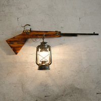 Creative Gun Retro American Country Concise Wood Wall Lamp Cafe Restaurant Bedroom Parlor Aisle Decoration Lamp Free Shipping