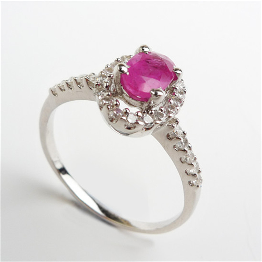 Sterling Silver Zircon Jewelry Rings For Women Party Wedding Natural Ruby Gems