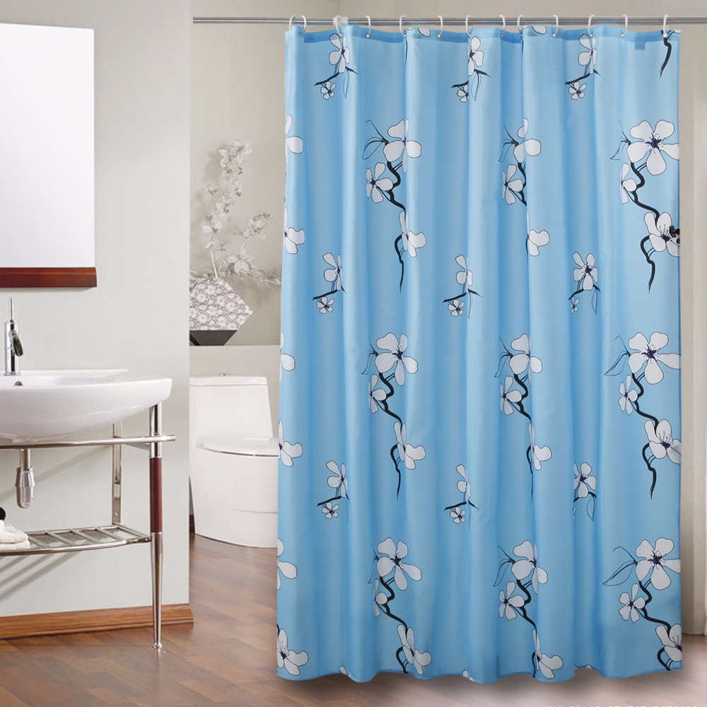 polyester shower curtain blue background floral printed waterproof mould proof bathroom curtain