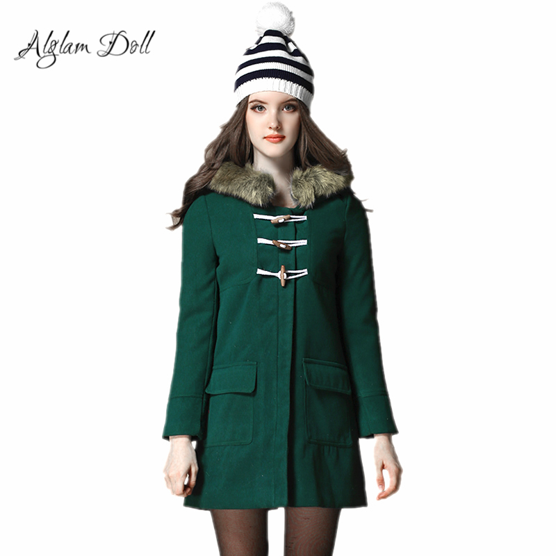 Alglam Doll Cute Preppy Style Winter Female Jacket Wool & Blends Fur Collar Women Coat Silm A-Line Outerwear Ladies Parka Tweed