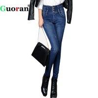 Guoran Denim Blue Jeans Femme Thick Velvet Warm Winter Jeans Pants Women 2017 Skinny Stretch