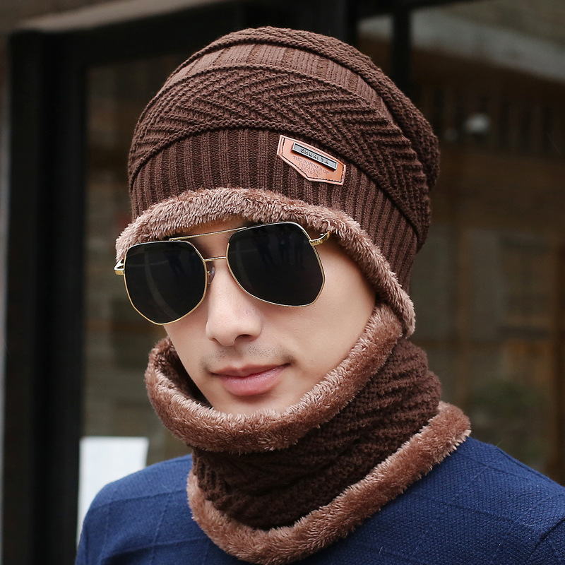 Hat Male Winter Korean-Style Plus Velvet Warm Wool Knitted Scarf Baotou Cotton Cap Wind Bandana Thick Hat Scarf Set