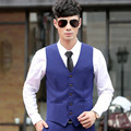 Royal blue men waist good quality groom wedding suits vest solid color slim fit groomsman prom dinner tuxedos vest