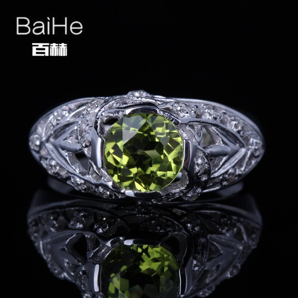 BAIHE Solid 14K White Gold(AU585) 1.3CT Certified Green Flawless Round Genuine Peridot Wedding Women Trendy Fine Jewelry Ring BAIHE Solid 14K White Gold(AU585) 1.3CT Certified Green Flawless Round Genuine Peridot Wedding Women Trendy Fine Jewelry Ring