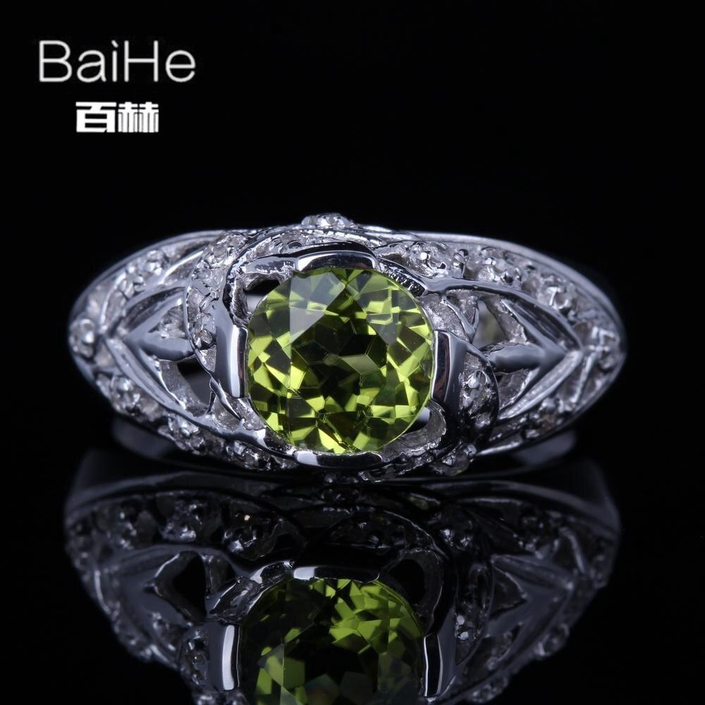 BAIHE solide 14 K or blanc (AU585) 1.3CT certifié vert impeccable rond véritable péridot mariage femmes à la mode Fine bijoux anneau