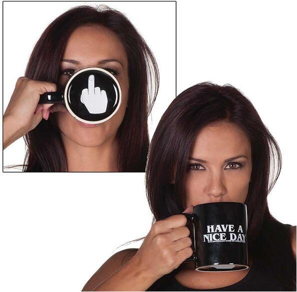 Creative Ont un Beau Jour Café Tasse Moyen Doigt Drôle Tasse pour le Café Thé Au Lait Tasses Nouveauté Cadeaux 10 oz
