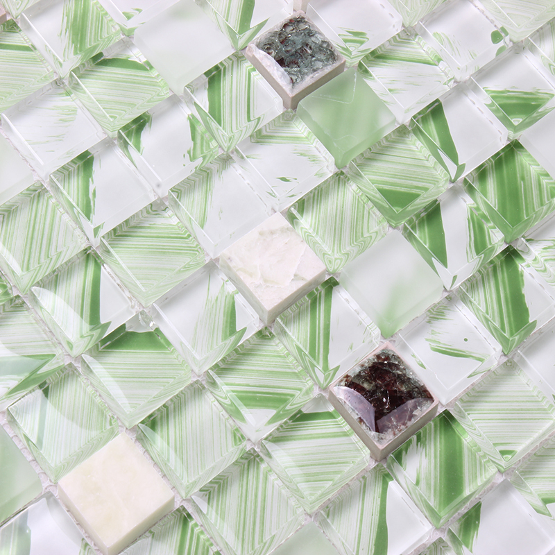 Green Crystal Glass Mixed Ceramic Mosaic Tiles EHM1072A For Kitchen  Backsplash Tile Bathroom Shower Mosaic Tiles