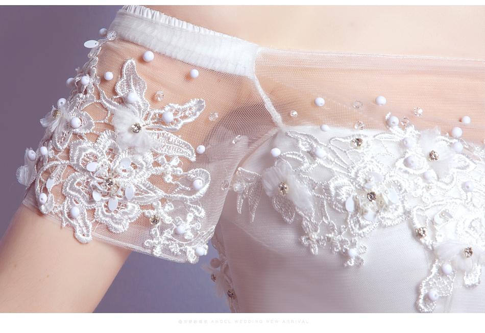 Angel Wedding Dress Marriage Bride Bridal Gown Vestido De Noiva 2017 Boat Neck Nail, lace, 2129 16