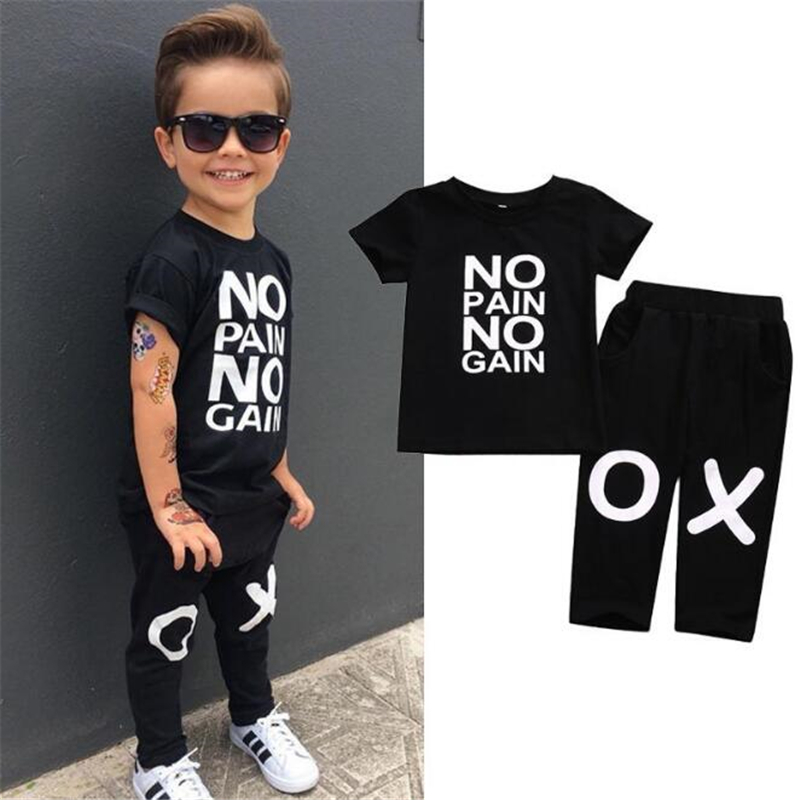2018 Fashion Summer Clothes Set Baby Boys Girls T-shirt+ Long Pant Toddler Letter Printe ...