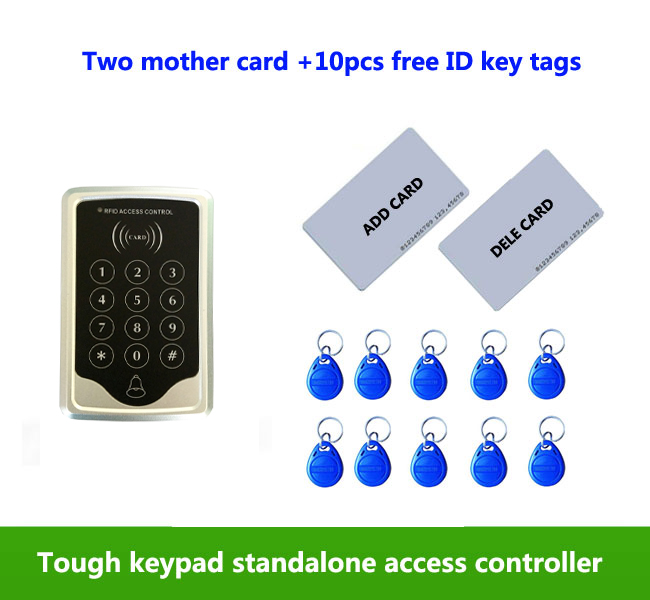 proximity RFID 125Khz ID card Standalone +Touch keypad Single door access controller ,2pcs mother card, 10pcs ID tags,min:1pcs proximity rfid 125khz em id card access control keypad standalone access controler 2pcs mother card 10pcs id tags min 5pcs