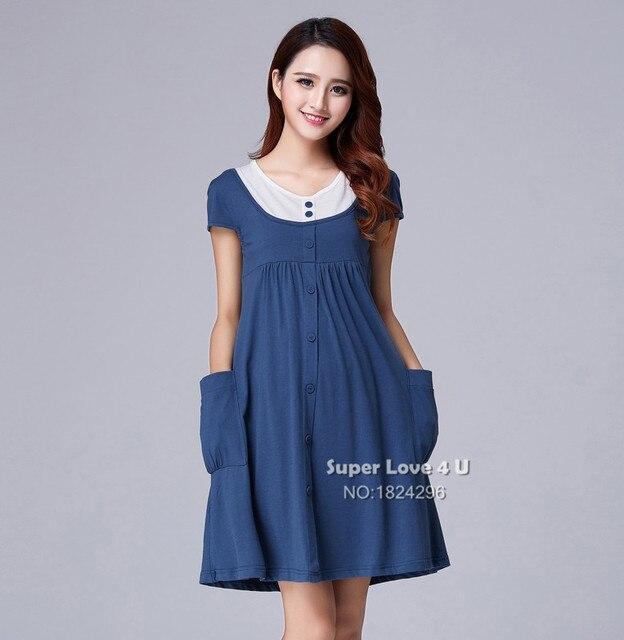 ab0a9fbcd Verano Solid Casual vestidos maternidad más tamaño Ropa embarazo Cotton Ropa  Premama   Embarazada vestido para