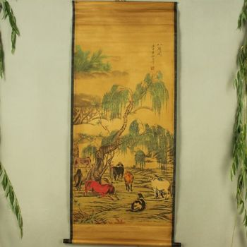 China Antique collection Boutique Calligraphy and painting The eight horse diagram