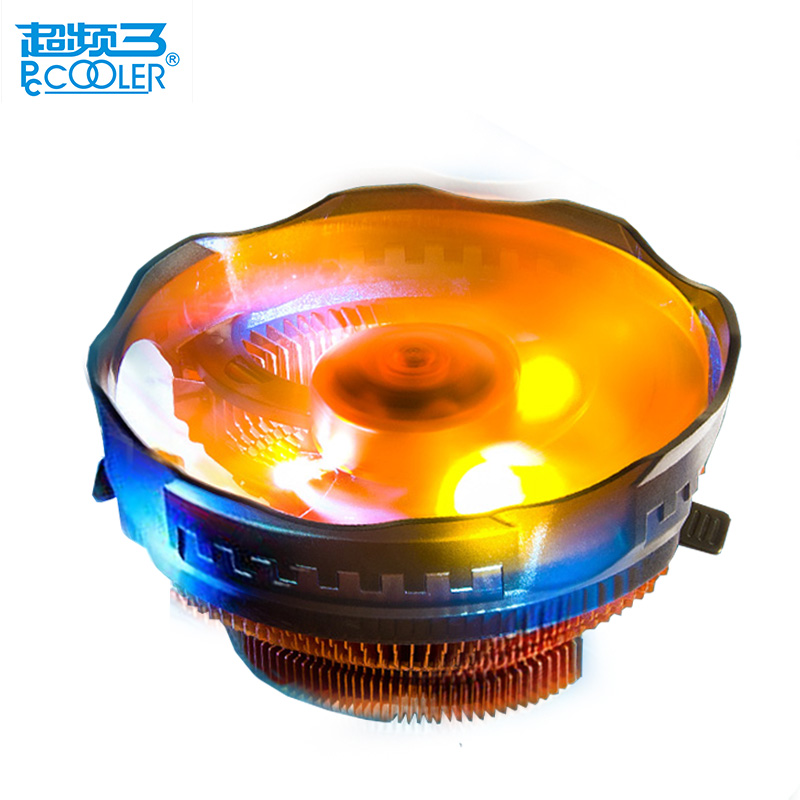 Pccooler orange LED 4pin cpu cooling fan PWM silent cpu cooler for AMD Intel 775 1150 1151 1155 1156 cpu cooling radiator quite personal computer graphics cards fan cooler replacements fit for pc graphics cards cooling fan 12v 0 1a graphic fan