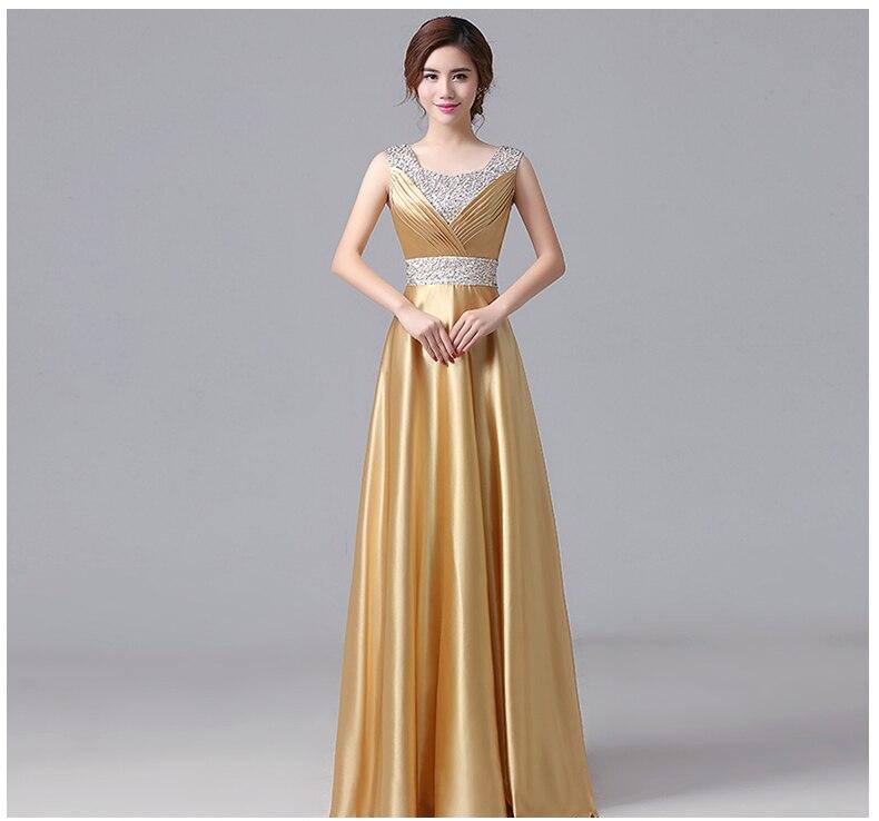 Sweet Memory Floor-Length Satin Gold Bridesmaid Dresses Beading Royal Blue Champagne Gold Purple Bridesmaid Dresses SW180607