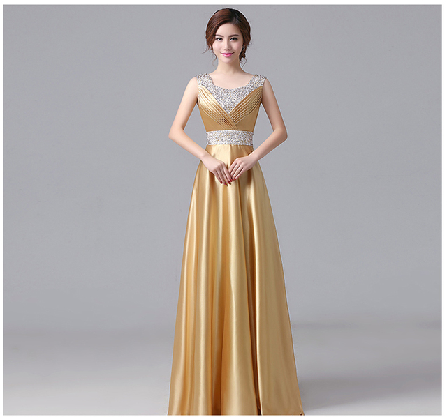 Sweet Memory Floor-Length Satin Gold Bridesmaid Dresses Beading Royal blue  champagne gold purple Bridesmaid Dresses SW180607 afe3fdd5db04