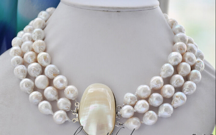 Hot sell Noble- Free shipping 3strands 13mm white almost round keshi reborn Edison pearl necklace a hyperset noble hs6012