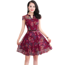 The New 2017 Summer Chiffon Dress In Middle-aged Women's Clothing In The 40-50 Long Print Dress With Short Sleeves