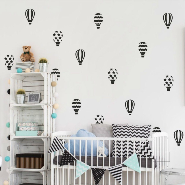 20pcs/set Hot Air Balloon DIY Vinyl Wall Stickers Nursery Wall Art Decals Removable Mural for Kids Room Home Party Decor Gift