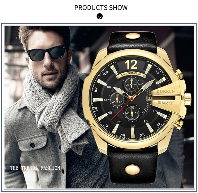 CURREN Men's Top Brand Luxury Leather Chronograph Calendar Date Display Quartz Watches 5