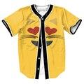 Emoji Corazón Gato Ojos Jersey divertido tess camisas de Los Hombres 3d camisa del béisbol sudadera Streetwear con botones del estilo del verano de La Cadera Hop