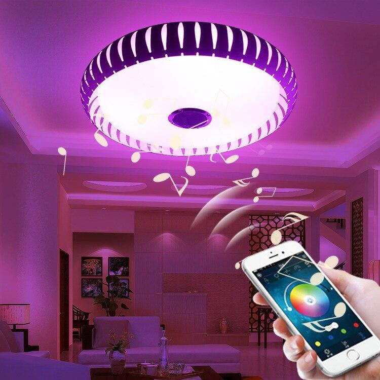 Bezdrátová technologie Bluetooth 4.0 Ovládací LED dioda Stropní světlo Hudba a vícebarevná změna Inteligentní LED stropní lampa a akrylová stínítka