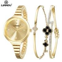 New Fashion One Set 3 Pieces 14K Gold Bracelet Watch Women Stylish Luxury Austrian Crystals Stainless