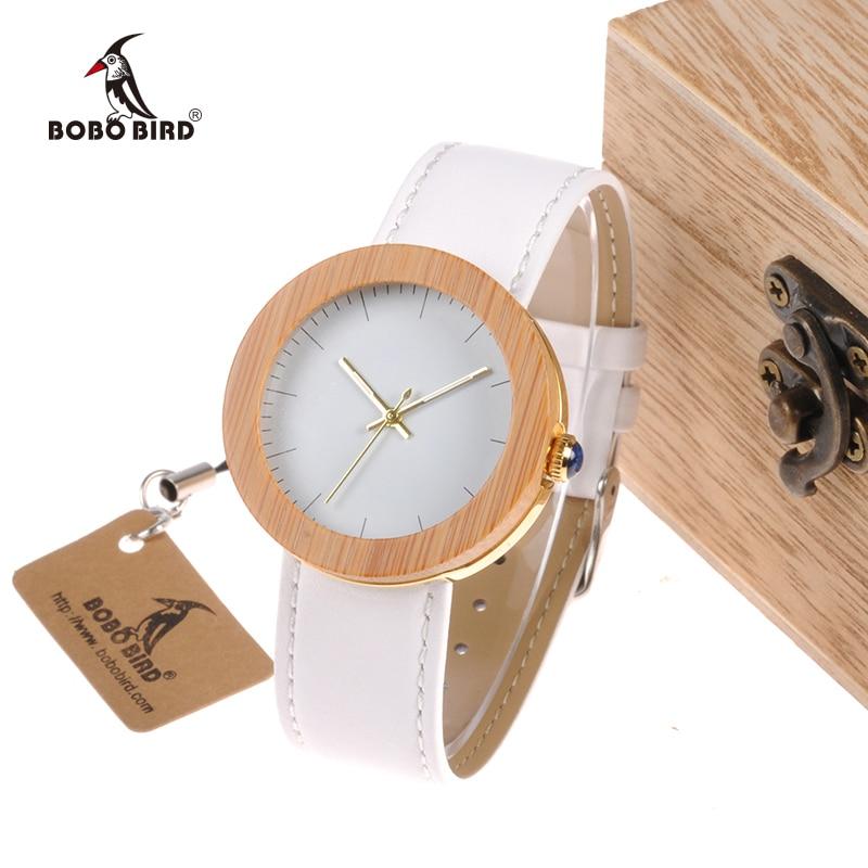 BOBO BIRD WJ27 Brand Women Watch Bamboo Steel Quartz Watch Genuine Leather Band With Wooden Wood