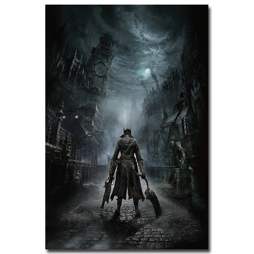 Bloodborne Art Silk Fabric Poster Print 13x20 24x36inch Game Hunter Picture For Living Room Wall Decoration 006