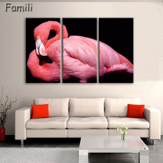 3panel/set Painting Flamingo Playing In The Water Rectangle Wall ...