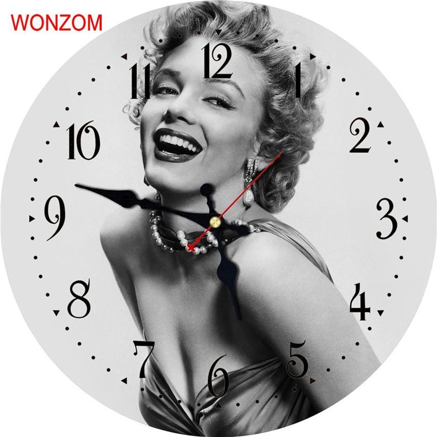 WONZOM Marilyn Monroe Large Wall Clock Silent Living Room Belle Wall Decor Saat Home Decoration Watch Wall 2017 Reloj De Pared