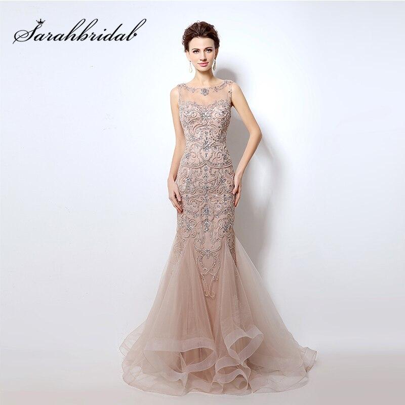 e215a0f7b1c Real Photo Sexy Mermaid Luxury Beading Crystal Evening Dresses 2018 Blush  Open Back Illusion Prom Gowns de festa longo LX006