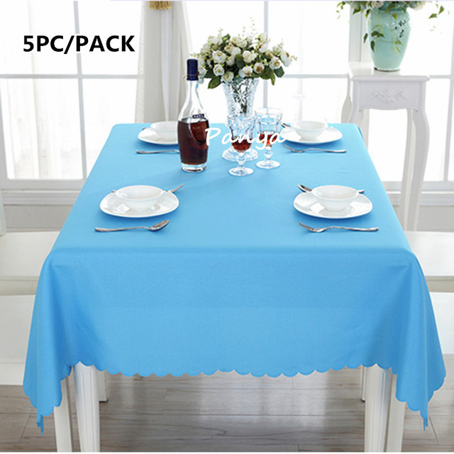 Free Shipping 5PCS High Quality Machine Washable Polyester White Table  Cloths For Wedding Banquet Party Decor