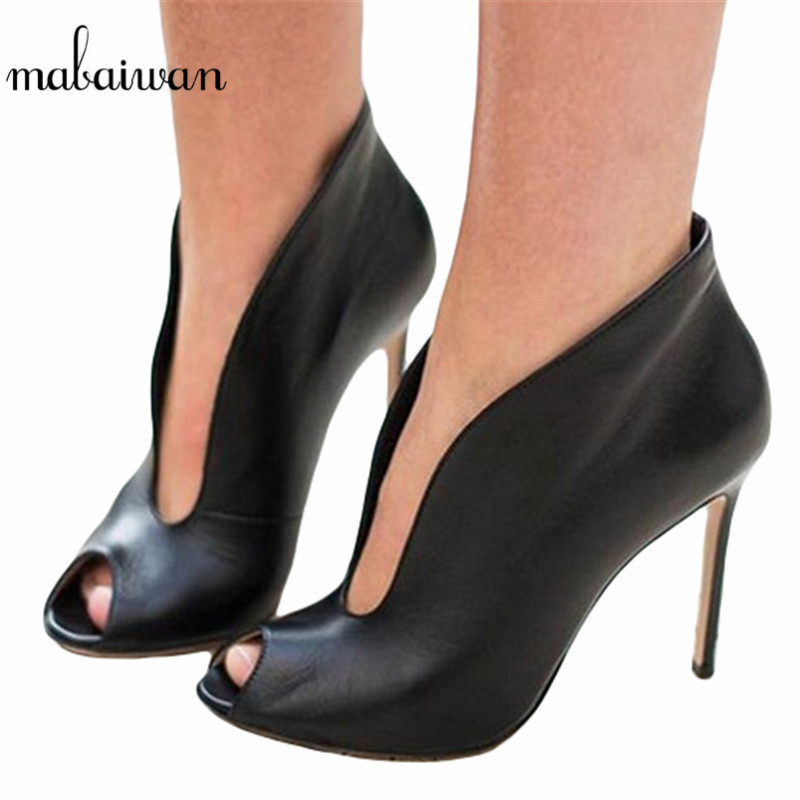 Mabaiwan Black Women Peep Toe Ankle Boots Deep V Front High Heels Slip On Wedding Dress Shoes Women Pumps Valentine Shoes nayiduyun women casual shoes low top platform wedge high heels boots round toe slip on pumps punk chic shoes black white sneaker