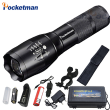 Pocketman 9000 Lumens High Power 5 Mode XM-L T6 L2 LED Flashlight Zoomable rechargeable Focus Torch by 1*18650 or 3*AAA z92