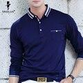 Troilo Alta Calidad Del Otoño Del Resorte de Los Hombres Camisa de Polo de Busines Casual Solid Camisa de Polo hombres de la Marca Camisa de Manga Larga Camisas de Polo