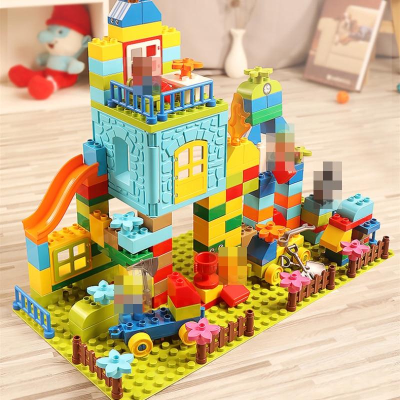 Children Building Blocks Big Size 160pcs Amusement Park Marble Run Model Toys Kids Educational Toy