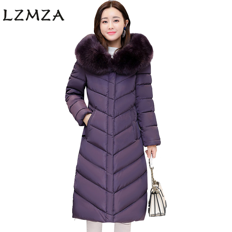 LZMZA Plus SizeS-4XL 2017 Winter Parkas Long Jacket Women Big Fur Collar Coats woman Thick Warm Cotton Hooded Parkas Outwear n xinzhe 2017 winter parkas women long jacket big fur collar coats woman thick warm cotton hooded parkas outwear plus size 4xl