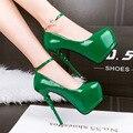 Mulheres sapatos de salto saltos tira no tornozelo mulheres sapatos cor de rosa verde bombas stiletto sapatos de Salto alto 2017 bombas vermelhas sapatos de casamento X284