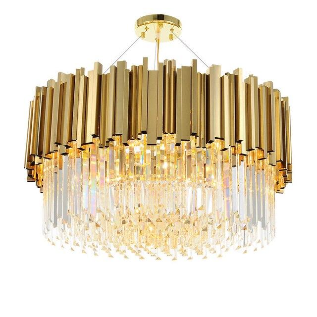 wongshi Modern Gold Luxury K9 Crystal Bar Stainless Steel Pendant Light Designer Sample Room Villa Metal Crystal Light