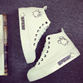 Muchacha de la manera zapatos de lona del estilo de corea de alta ayuda gruesa plataforma plana zapato de las mujeres aumento de la altura del calzado de calidad tamaño 35-40