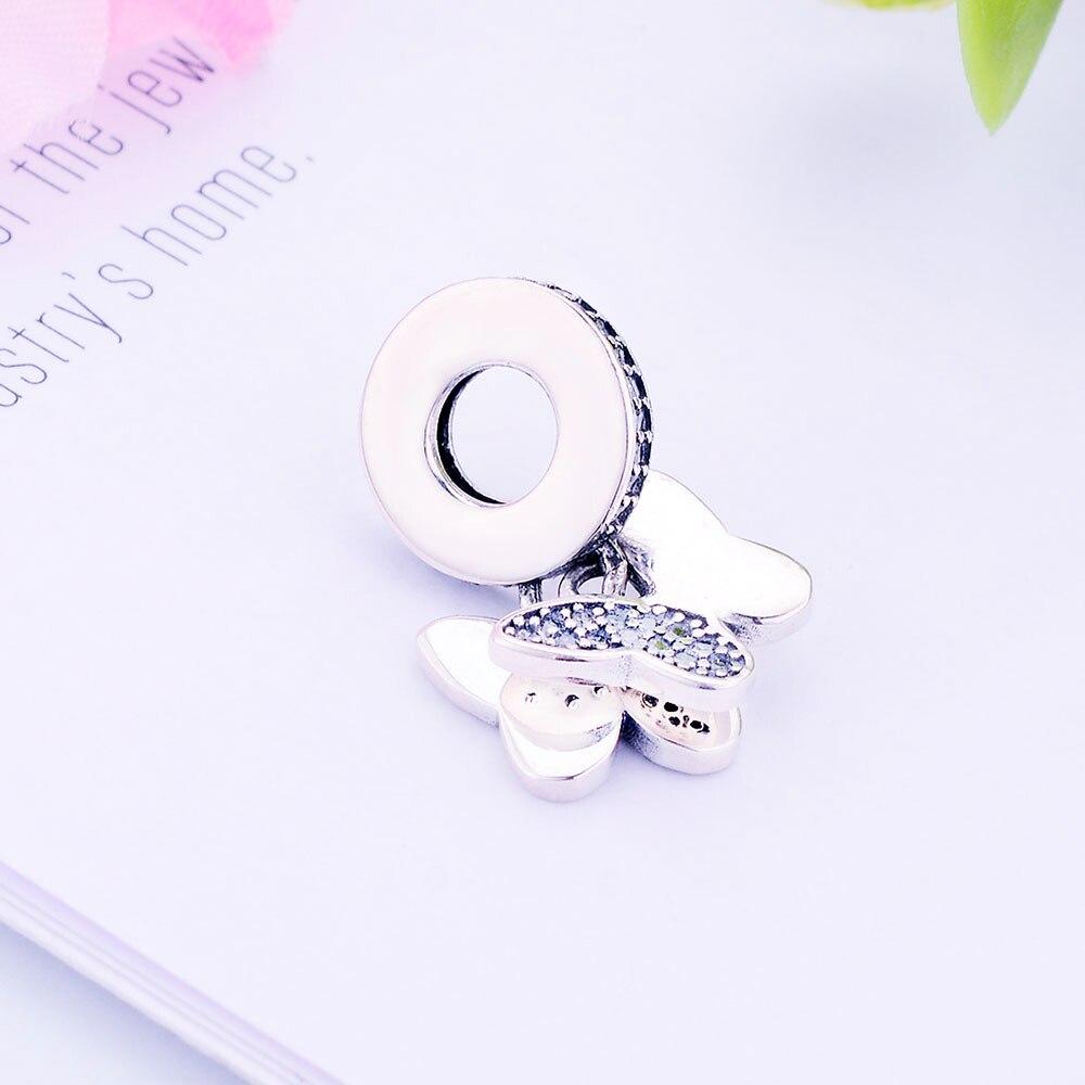 100% 925 Sterling Silver Pärlor Fladdrande Fjärilar Hängsmycke - Märkessmycken - Foto 2