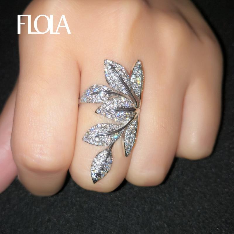 Flola delicado anel de folha de prata para a mulher micro inlayed zircônia cúbica presente anel de dedo da forma do vintage jóias bague rigf28